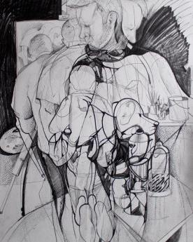 'The Painter' 93x72cm graphite and ink