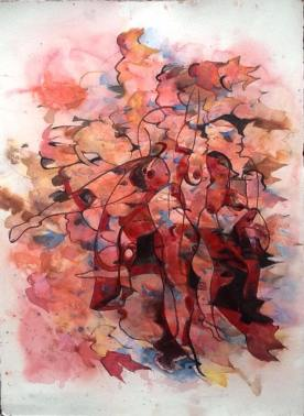 Ivy Leaves 97x77cm Watercolour and Ink