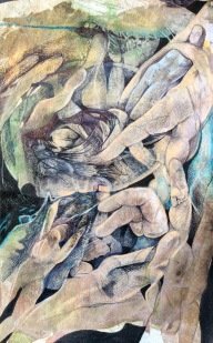 'Orpheus and the Underworld' Watercolour, pencil and ink