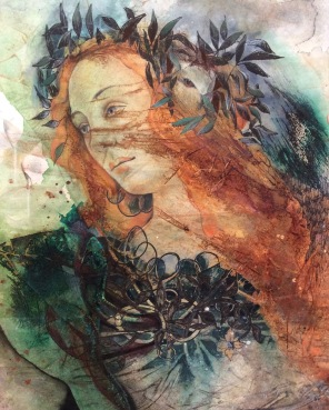 'Minerva' After Botticelli Watercolour, pencil and ink