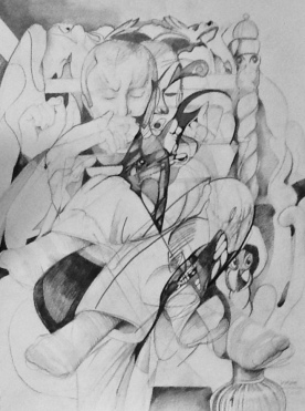 The Writer 93x72cm Graphite and Ink