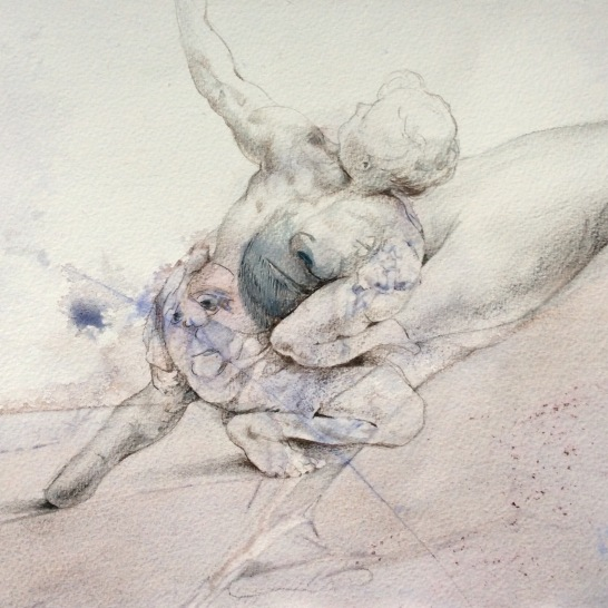 'Hand of Prometheus' Watercolour, pencil and ink